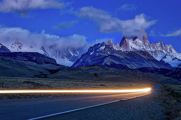 Photograph - Fitz Roy And Car Lights by Stuart Litoff