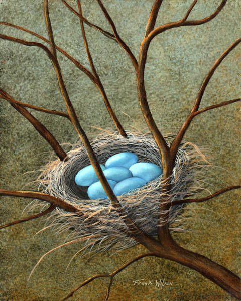Painting - Five Blue Eggs by Frank Wilson