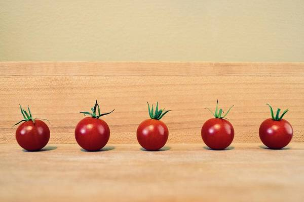 Wall Art - Photograph - Five Cherry Tomatoes by Michelle Calkins