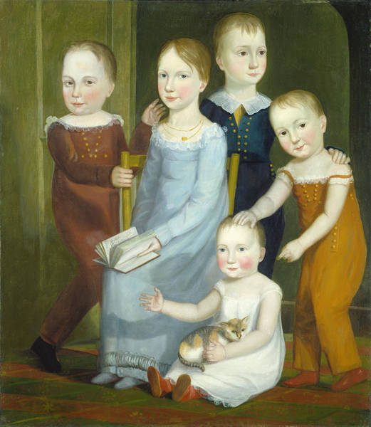 Wall Art - Painting - Five Children Of The Budd Family by American 19th Century