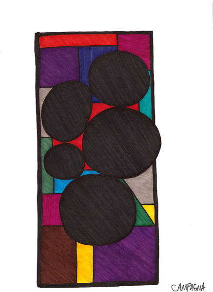 Wall Art - Drawing - Five Dark Discs by Teddy Campagna