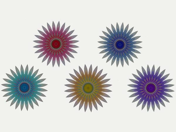 Digital Art - Five Flowers by Ruth Moratz