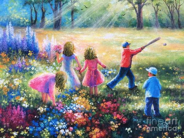 Wall Art - Painting - Five Garden Children Blondes by Vickie Wade