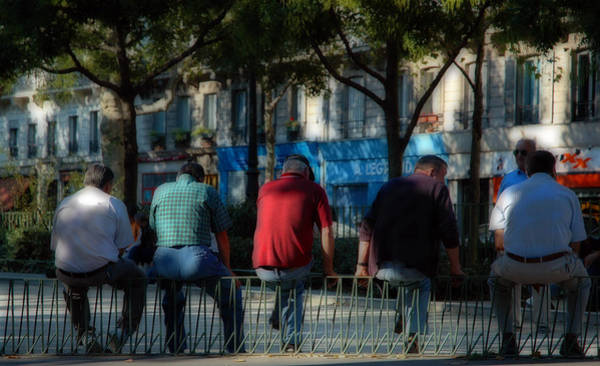 Photograph - Retired Gentlemen On A Paris France Street by Ginger Wakem