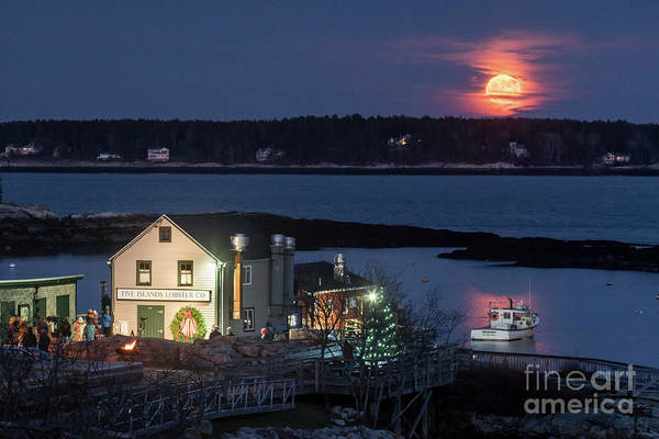 Lobstering Photograph - Five Islands Supermoon by Benjamin Williamson