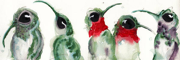 Painting - Five Little Hummers by Dawn Derman