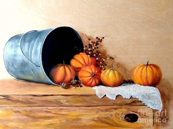 Wall Art - Painting - Five Little Pumpkins by Patricia Lang