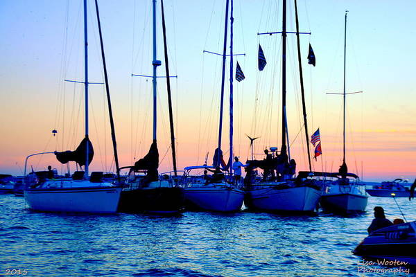 Wall Art - Photograph - Five Little Sailboats Sitting In A Row by Lisa Wooten