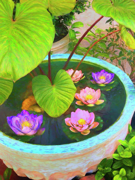 Painting - Five Lotus Blossoms by Dominic Piperata
