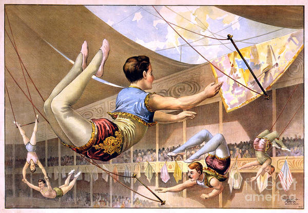 Trapeze Painting - Five Male Trapeze Artists Performing At A Circus  by Celestial Images