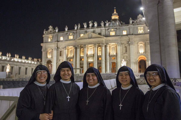 Photograph - Five Nuns At Vatican  by John McGraw