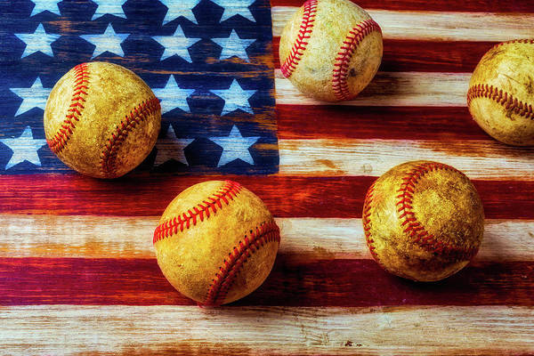 Gay Flag Photograph - Five Old Baseballs by Garry Gay