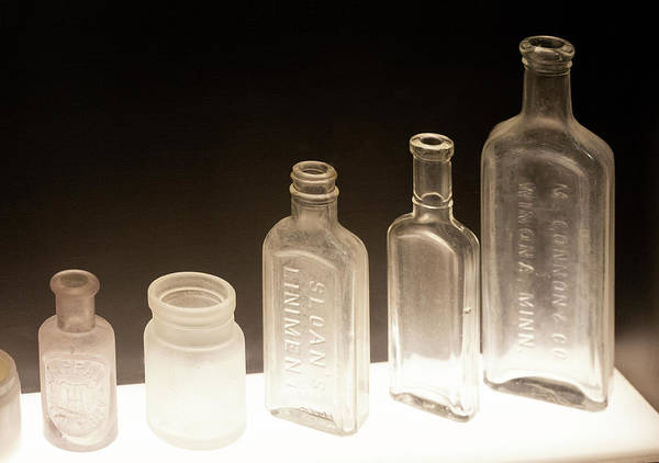 Wall Art - Photograph - Five Old Glass Bottles by Marilyn Hunt