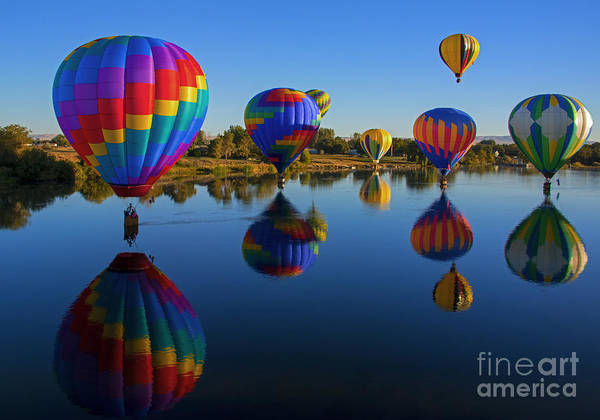 Hot Air Balloons Photograph - Five On The Water by Mike Dawson