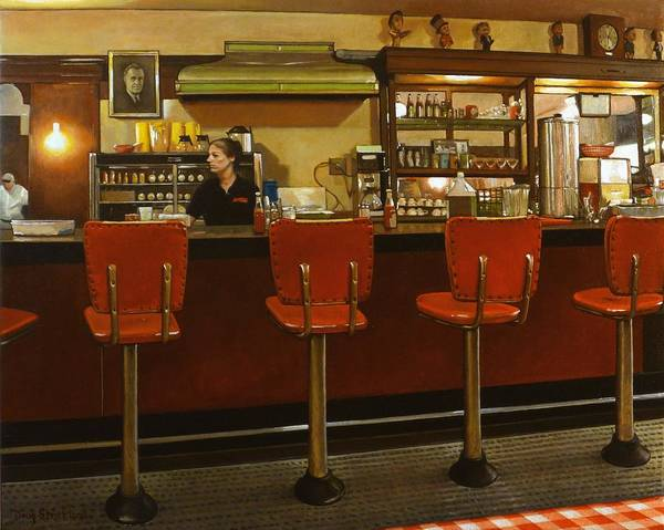 Diner Wall Art - Painting - Five Past Six At The Mecca Cafe by Doug Strickland