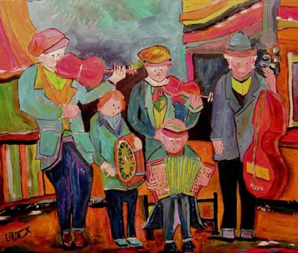 Klezmer Band Wall Art - Painting - Five Piece Klezmer Shtetele Band by Michael Litvack