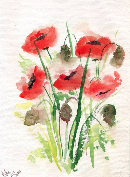 Painting - Five Poppies by Asha Sudhaker Shenoy