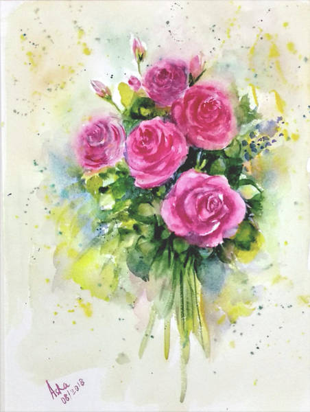 Painting - Five Roses Bunch by Asha Sudhaker Shenoy
