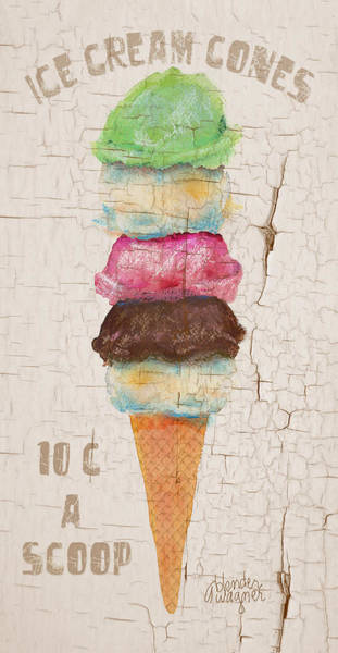 Cream Wall Art - Mixed Media - Five Scoops by Arline Wagner