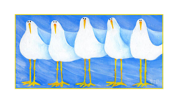 Painting - Five Seagulls by Pat Olson