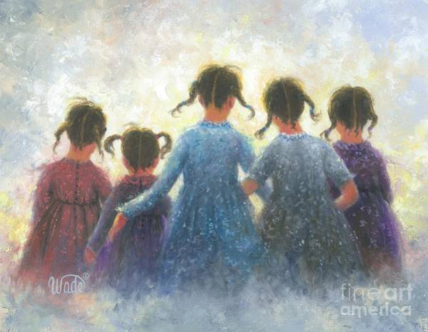 Wall Art - Painting - Five Sisters Pigtails by Vickie Wade