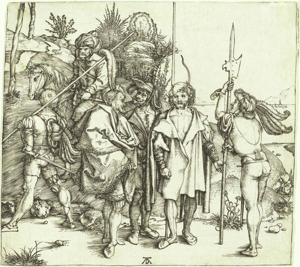 Drawing - Five Soldiers And A Turk On Horseback by Albrecht Durer
