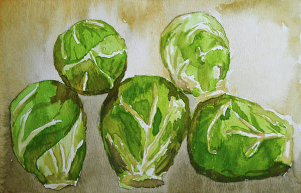Cabbage White Painting - Five Sprouts by Karen Sturgill