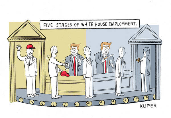 Government Drawing - Five Stages Of White House Employment by Peter Kuper
