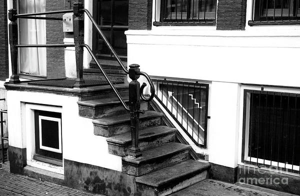 Holland America Line Wall Art - Photograph - Five Stairs Mono by John Rizzuto
