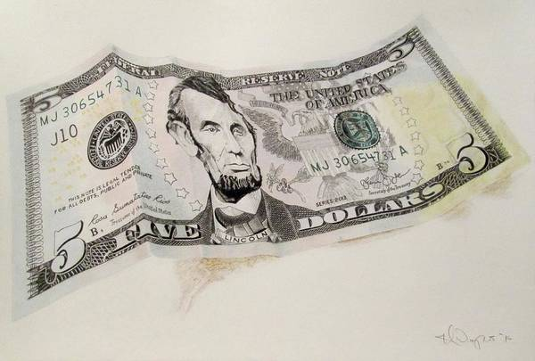 Abe Lincoln Drawing - five USD by Hal Weyant