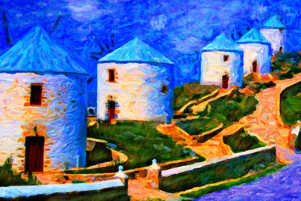 Digital Art - Five Windmills by Chuck Mountain