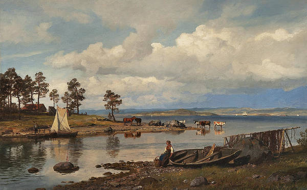 Norwegian Painting - Fjord Landscape With People by Hans Gude