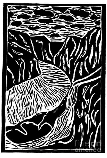 Painting - Fjord Norway - Limited Edition Linocut Print by Sascha Meyer