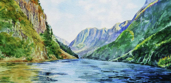 Painting - Fjord Of Norway Watercolor Landscape  by Irina Sztukowski