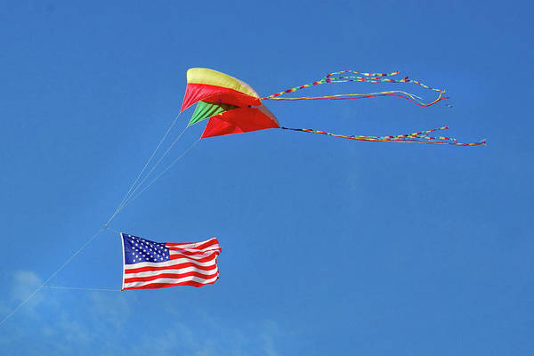 Wall Art - Photograph - Flag And Kite by Jerry Griffin