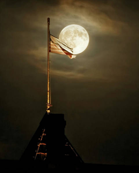 Photograph - Flag And Moon -01 by Rob Graham