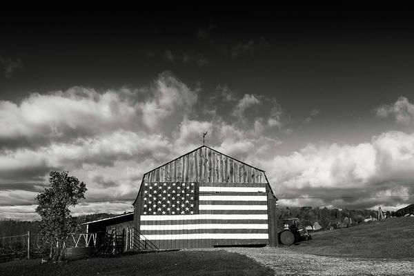 Wall Art - Photograph - Flag Barn Williston by Dave Schmidt
