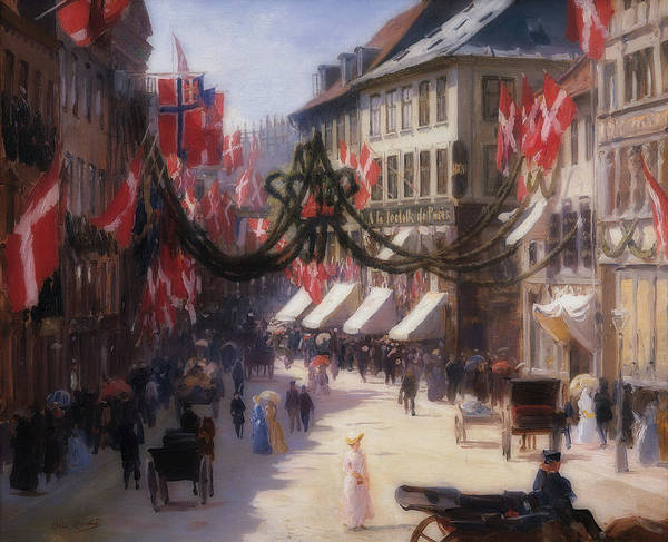 Wall Art - Painting - Flag Day In Copenhagen by Otto Bache