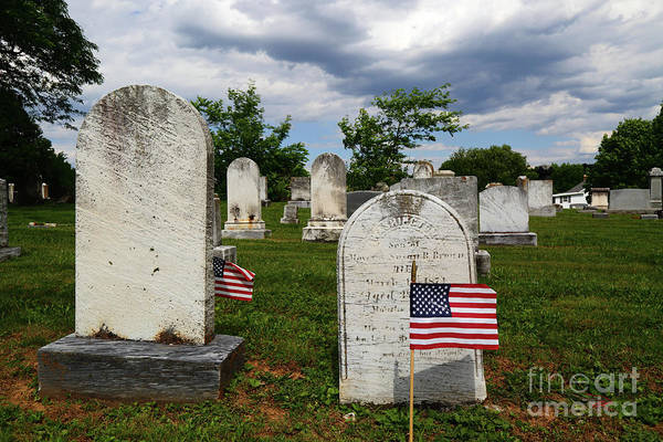 Photograph - Flag For Memorial Day In Uniontown Cemetery Maryland by James Brunker