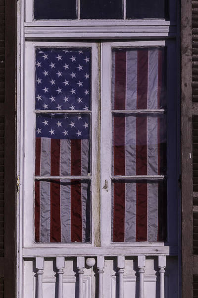 Nola Photograph - Flag In New Orleans Window by Garry Gay