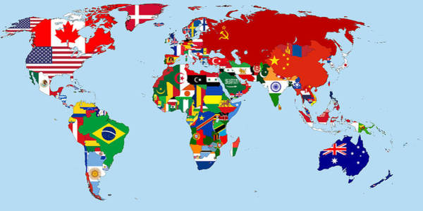 Digital Art - Flag Map Of The World 1965 by Movie Poster Prints