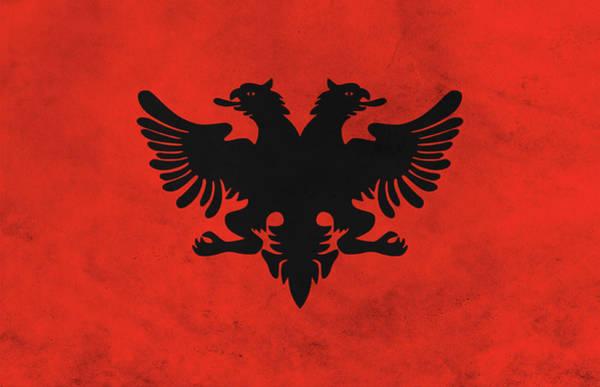 Wall Art - Mixed Media - Flag Of Albania by Dan Sproul
