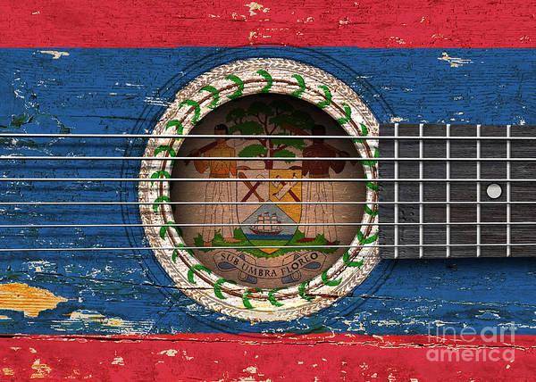 Belize Digital Art - Flag Of Belize On An Old Vintage Acoustic Guitar by Jeff Bartels