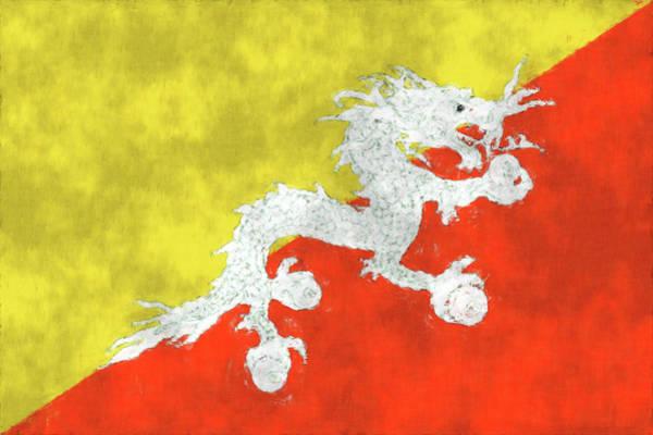 Wall Art - Digital Art - Flag Of Bhutan. Painted Bhutan Flag. by World Art Prints And Designs