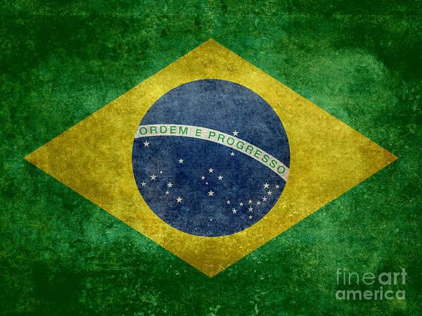 Wall Art - Digital Art - Flag Of Brazil Vintage 18x24 Crop Version by Bruce Stanfield