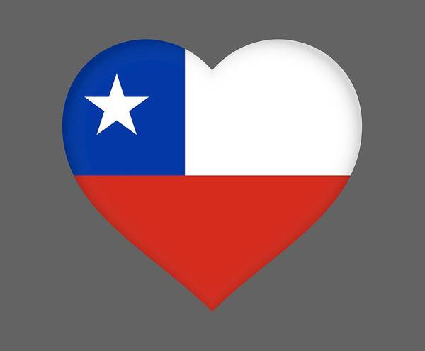 Flag Of Chile Wall Art - Digital Art - Flag Of Chile Heart by Roy Pedersen