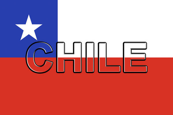 Flag Of Chile Wall Art - Digital Art - Flag Of Chile Word by Roy Pedersen