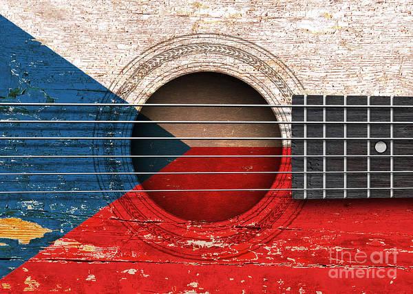 Czech Digital Art - Flag Of Czech Republic On An Old Vintage Acoustic Guitar by Jeff Bartels