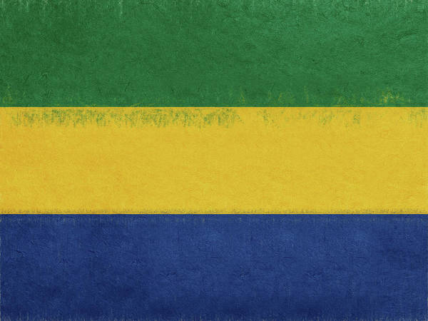 Gabonese Digital Art - Flag Of Gabon Grunge. by Roy Pedersen