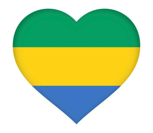 Gabonese Digital Art - Flag Of Gabon Heart  by Roy Pedersen